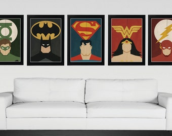 Superhero, Justice League - Minimalist, Vintage,Retro Movie Poster 5 Set