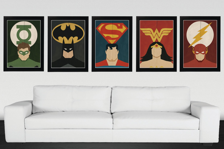 superhero justice league minimalist vintageretro movie
