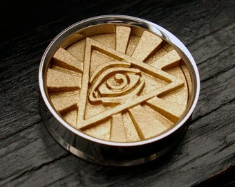"""Gold All Seeing Eye Plugs - Eye of Providence - 3D Printed Illuminati - 38mm 41mm 44mm 47mm 50mm 54mm 57mm 63mm 67mm 76mm - 1&1/2"""" to 3"""""""