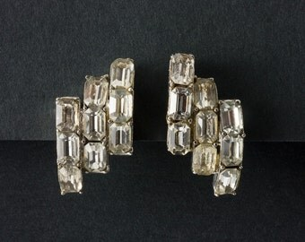 Vintage Ice Rhinestone Earrings Art Deco style