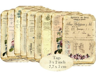 Ephemera Vintage printable Tags Roses Altered Art Craft Mix Media Papers Instant Download digital collage sheet T182