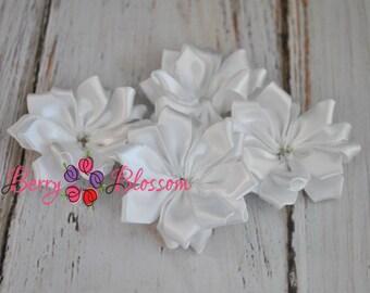 "White Satin Ribbon Flower 2"" inch size - small satin ribbon flowers - Set of 4 - SF YC145 14"