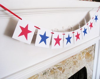 4th of july banner, happy 4th of july banner, star garland, 4th of july decorations, patriotic banner, stars and stripes, star banner