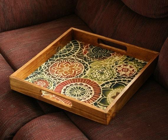 Designer ottoman tray serving wine bohemian design