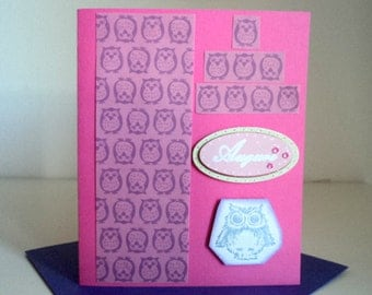 Auguri card in pink with owls -handmade-