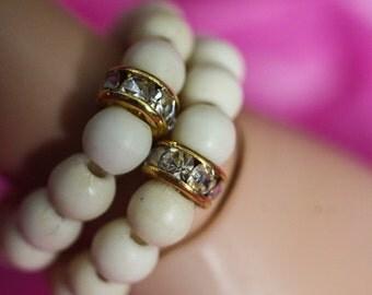 MSD BJD White Plain Turquoise Beaded Bracelet