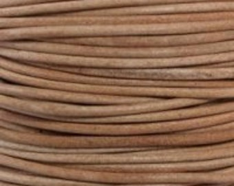 1mm  natural round soft leather cord undyed- 10 meters /32.5 feet