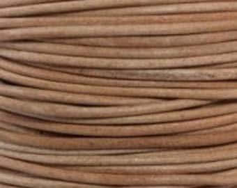1.5mm natural round soft leather cord undyed- 25 meters / 81.25 feet