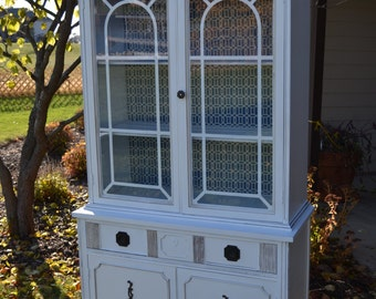 Small Sweet Vintage white China cabinet linen storage  White glazed slighly  distressed pieceChina cabinet   Etsy. Antique Dining Room China Cabinets. Home Design Ideas