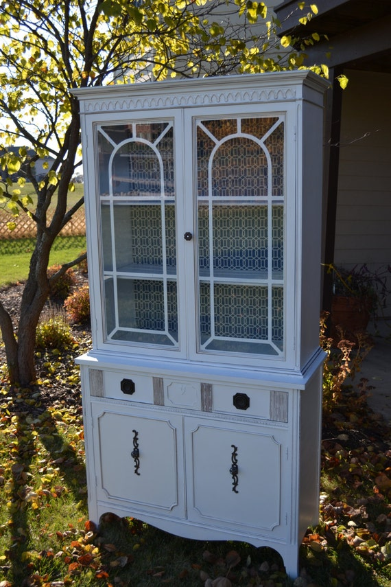 Small Sweet Vintage White China Cabinet Linen Storage. White