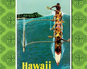Hawaii Travel Poster Wall Decor (7 print sizes available)
