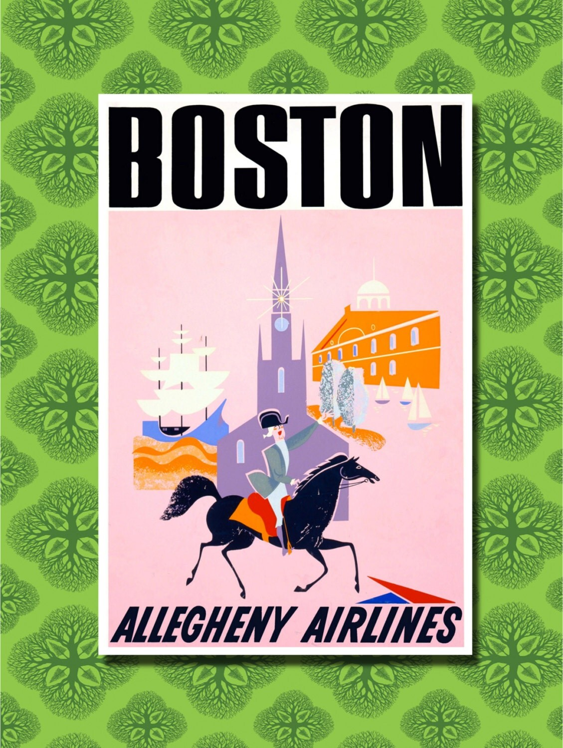 Boston Travel Poster Wall Decor 7 Print Sizes Available
