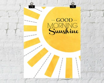 Good Morning Sunshine, Nursery Decor, Wall Art, Children's Art, Instant Download, Typography Print, The Copper Anchor-ADOPTION FUNDRAISER