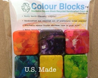 6 recycled crayon pack - Stackable Square Block Crayons Recycled Handcrafted For KIds