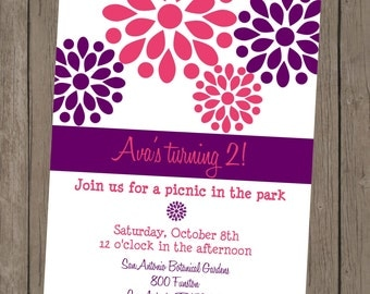 Printable Girl Birthday Invitation - Ava Purple