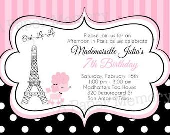 Paris Poodle Birthday Baby Shower Invitation DIY Printable