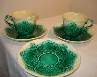 Antique Wedgwood Majolica Cauliflower Cups and Saucers, 2 cups, 3 saucers