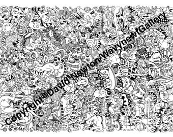 3. Instant PDF Download Hand Drawn Zentangle Inspired 'Mindjunk' Coloring Colouring Page Abstract Zendoodle Black and White Drawing