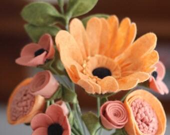 Orange / Pink Felt Flower Arrangement Featuring a Gerber Daisy