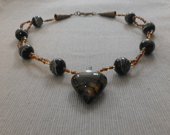 glitter heart necklace: lampwork and glass beads, antique golden accents
