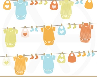 "Baby clipart pack ""baby clothesline"", with baby bodysuits, bibs and socks... to use in scrapbooking, card making.."