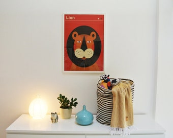 Lion | screen print poster for kids | limited edition of 100