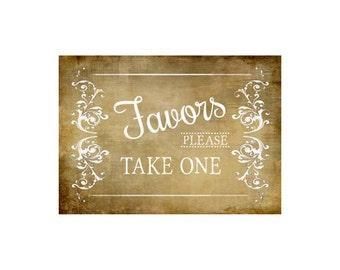 DIY Printable Vintage Style FAVORS  sign - Victoria Vintage Collection - 3 sizes available