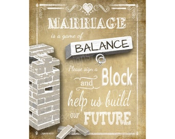 Sign a Block Wedding Sign - Print instantly after purchase -  DIY - Vintage Heart Collection
