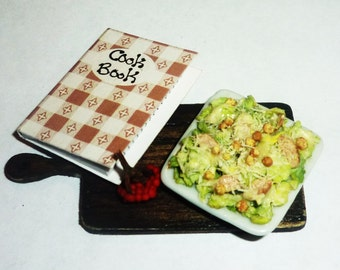 Dollhouse miniature 1:12 Salad Caesar,  miniature food, lunch, dinner,Salad,Parmesan, salad, chicken, sauce, cherry