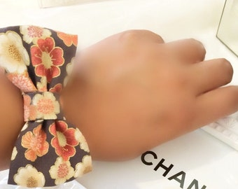 Blossom Coral Brown Bow Bracelet Cuff