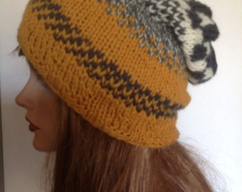 Hand Knit Wool Hat Beanie Slouch Beret Mustard Yellow Gray Checkers Designer Fashion Hip Hot