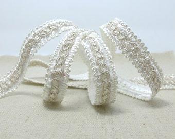 3 Yards 9/16 Inch White Gimp Braided Trim|French Gimp Braided|Scroll Braid Trim|Decorative Embellishment Trim|Doll Trim|Home Decor