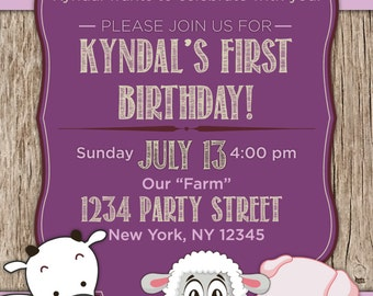 Farm Theme Birthday Invitation - Printable - Custom - Girl Birthday - Purple