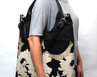 Extra Large Tote/ Cream, Tan, Black Fabric/ Vegan Friendly/ Fabric Handmade Purse/ Artisan Made Bag