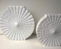 Rheinpfalz Hartzporzellan, Set of Op Art Vases, Porcelain Vases, West German Pottery, 1960s