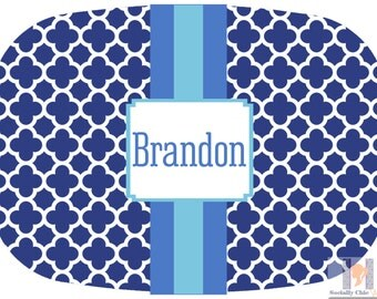 Modern shades of blue & aqua monogrammed tray or platter.  The perfect gift- entertain with style! Dishwasher safe! Custom colors available!