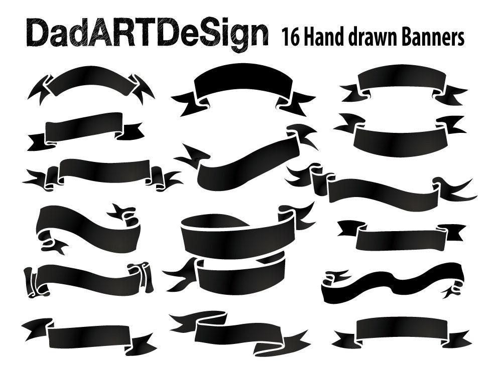 Simple Blank Ribbon Banners hand drawn 16 PNG HR files ready