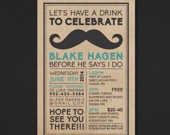 Printable Bachelor Party Invitation - Mustache - The Biko Collection