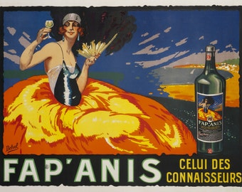 Vintage Italian Fap'Anis by Delval  Liquor Ad Giclee Art Print Stretched Canvas Option