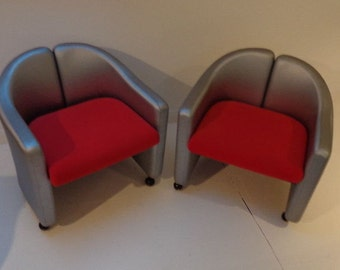 A Pair of Italian Tecno Chairs by Gerli Mid Century Danish Eames pop art space age