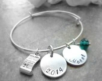 Graduation Jewelry bracelet Personalized Graduation Bracelet Expandable Hand stamped Jewelry
