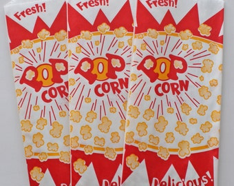 Popcorn paper bags - Set of 20 - Movie Night Party, Carnival Party, Circus Party, Baseball Birthday Party