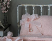 Blythe/ Pullip/Dal/Jerry Berry / Yo-SD/1:6 Doll - Pink Jacquard pillow and matching quilt/comforter/ doll bedding/ doll decor