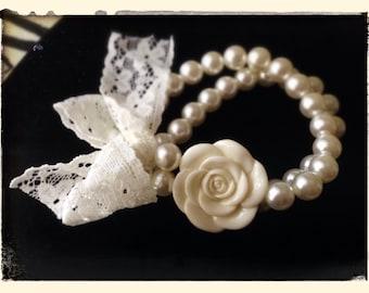 Vintage Rose & Lace Pearl Bracelet