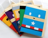 Superhero Birthday Cards! Set of 5 Marvel Avengers (Captain America, Thor, Hulk, Ironman, Hawkeye), Blank Greeting Card Set, Handmade, Kids