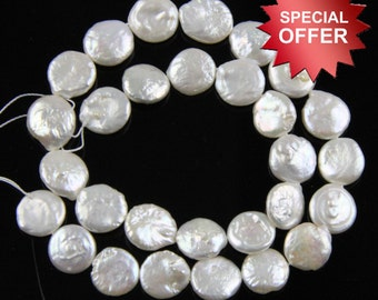 coin freshwater pearls,10-12mm ivory white coin pearls,flat round coin pearl beads,coin pearl necklace material,coin pearl strand  PS022