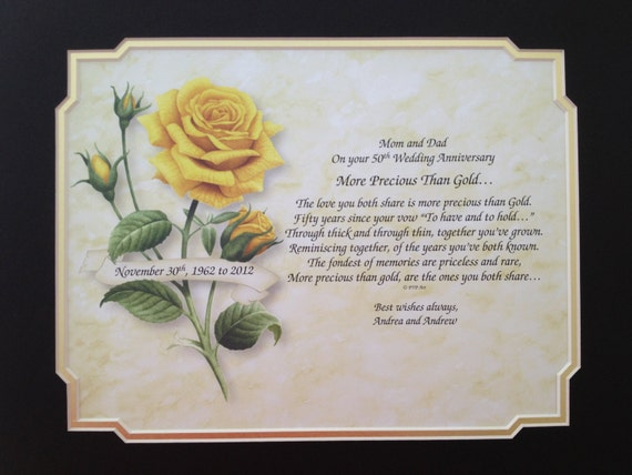 50th anniversary gift idea personalized poem for parents grandparents
