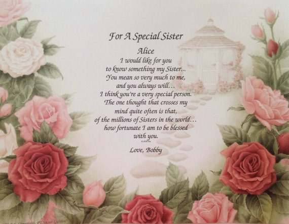 Sentimental Wedding Gifts For Your Sister : Gift For Sister Personalized Print For A by WePersonalizeGifts