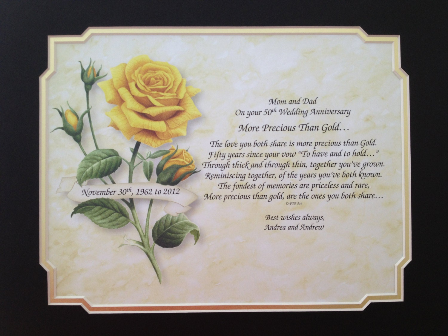 Wedding Anniversary Gift Parents: 50th ANNIVERSARY Gift Idea Personalized Poem By