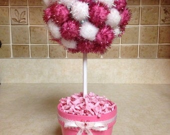 Topiary, Handmade Topiary, Baby Topiary, Girl Topiary, Pink and White Pom Poms. Topiaries